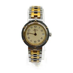 Hermes Watch Clipper operates normally 24mm Women's Cream X Gold